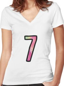 Number 7 Women's Fitted V-Neck T-Shirt