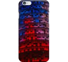 Bright Blue, Red and Pink Illumination - Agbar Tower, Barcelona, Catalonia, Spain iPhone Case/Skin