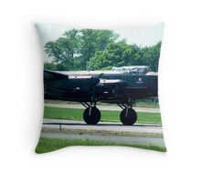 Lancaster Rumbles Down the Runway at Biggin Hill Throw Pillow