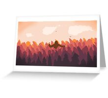 Sasquatch in a forest at sunset Greeting Card