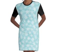 winter background with white snowflakes Graphic T-Shirt Dress