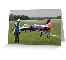 Model aircraft being carried after a display at the Festival of Flight in Biggin Hill Greeting Card