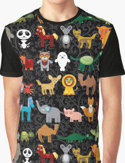 Animals on black background Graphic T-Shirt