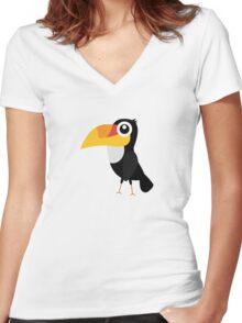 Toucan Bird Women's Fitted V-Neck T-Shirt