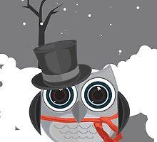 Top Hat Owl - Snow by Adamzworld