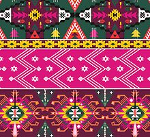 Native american seamless tribal pattern with geometric elements by Olena Syerozhym