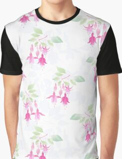 Fuchsia flowers seamless floral pattern on light white Graphic T-Shirt