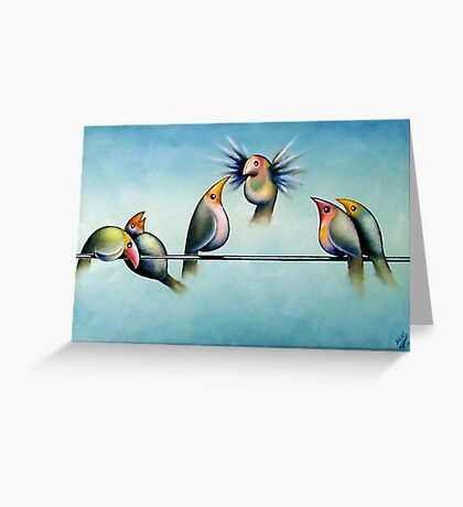 Finches On Parade - Excerpt Two Greeting Card
