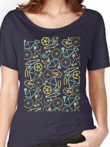 Bicycle Assembly Pattern (blu) Women's Relaxed Fit T-Shirt