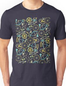 Bicycle Assembly Pattern (blu) Unisex T-Shirt