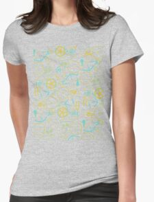 Bicycle Assembly Pattern (blu) Womens Fitted T-Shirt