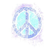 Psychedelic 3D Peace Sign - One Love - Graffiti - Grunge Photographic Print