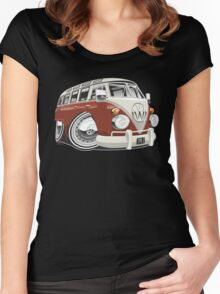 VW T1 bus caricature red Women's Fitted Scoop T-Shirt