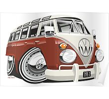 VW T1 bus caricature red Poster