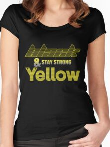 Black & Yellow Stay Strong Women's Fitted Scoop T-Shirt