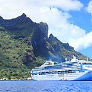 Cruise Ship - Otumanu Mountain - Bora Bora by Honor Kyne