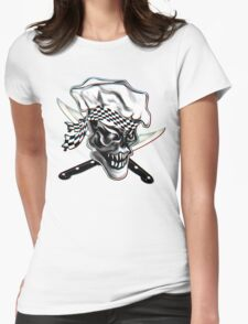 Skull Chef with Checkered Bandana Womens Fitted T-Shirt