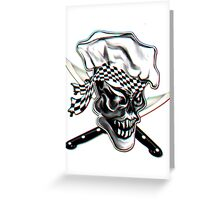 Skull Chef with Checkered Bandana Greeting Card