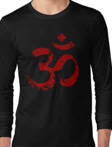 Red Painted Ohm Symbol Long Sleeve T-Shirt