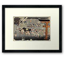 Miya - Hiroshige Ando - 1833 - woodcut Framed Print