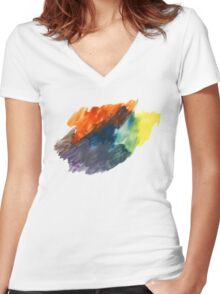 Handmade Abstract Watercolor Texture Women's Fitted V-Neck T-Shirt