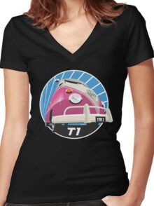 VW Type 2 Transporter T1 pink Women's Fitted V-Neck T-Shirt