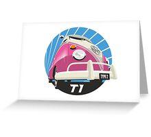 VW Type 2 Transporter T1 pink Greeting Card