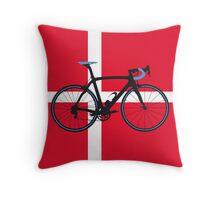 Bike Flag Denmark (Big - Highlight) Throw Pillow