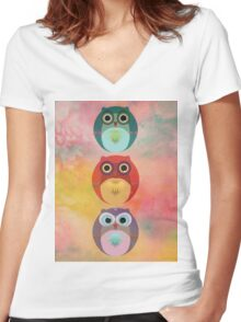 Three Little Owlets Women's Fitted V-Neck T-Shirt
