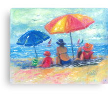 At the Beach With Mom and Grandma Canvas Print