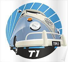 VW Type 2 Transporter T1 light blue Poster
