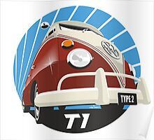 VW Type 2 Transporter T1 red Poster