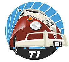 VW Type 2 Transporter T1 red Photographic Print