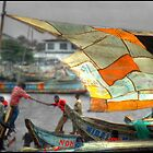 Whatever it Takes - Makeshift Sail at Tema Harbor by Wayne King