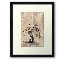 Monkey Holding A Potted Loquat - Utamaro II - 1807 - woodcut Framed Print
