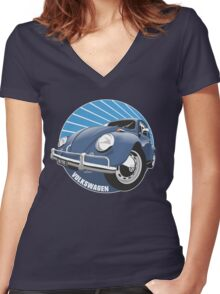 Sixties VW Beetle blue Women's Fitted V-Neck T-Shirt