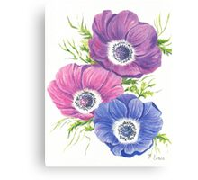 Anemones on White Canvas Print