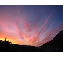 Mountain and clouds highlighting sunset Photographic Print