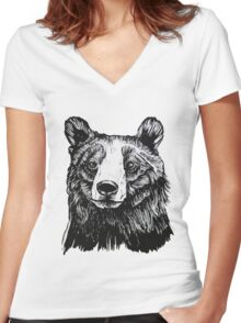 Ink Bear Women's Fitted V-Neck T-Shirt