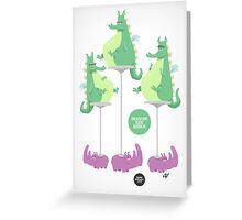 Dragons Ride Rhinos Greeting Card