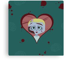 Zombie Girl and Brains Canvas Print