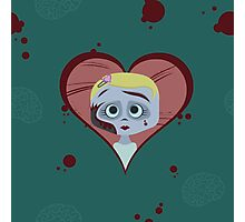 Zombie Girl and Brains Photographic Print