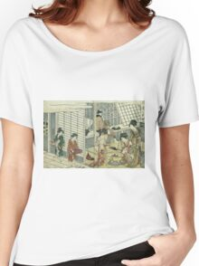 Kitagawa Utamaro - House Of Ichizuke. People portrait: People, woman and man,  Samurai, geisha , female and male,  Samurai  and geisha, headdress, man  men, women and men, love, beautiful dress Women's Relaxed Fit T-Shirt