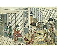 Kitagawa Utamaro - House Of Ichizuke. People portrait: People, woman and man,  Samurai, geisha , female and male,  Samurai  and geisha, headdress, man  men, women and men, love, beautiful dress Photographic Print