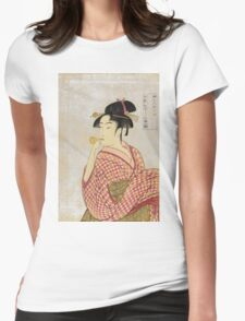 Kitagawa Utamaro - Poppen O Fuku Musume. Woman portrait: sensual woman, geisha, female style, pretty women, femine,  eastern, beautiful dress, headdress, silk, sexy lady,  mirror Womens Fitted T-Shirt