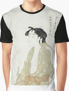 Kitagawa Utamaro - Portrait Of A Woman Smoking. Woman portrait: sensual woman, geisha, female style, pretty women, femine,  eastern, beautiful dress, headdress, silk, sexy lady,  mirror Graphic T-Shirt