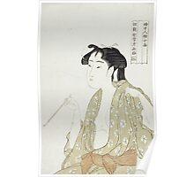 Kitagawa Utamaro - Portrait Of A Woman Smoking. Woman portrait: sensual woman, geisha, female style, pretty women, femine,  eastern, beautiful dress, headdress, silk, sexy lady,  mirror Poster