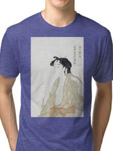 Kitagawa Utamaro - Portrait Of A Woman Smoking. Woman portrait: sensual woman, geisha, female style, pretty women, femine,  eastern, beautiful dress, headdress, silk, sexy lady,  mirror Tri-blend T-Shirt