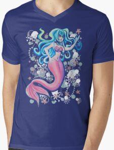 Pink Tailfin Mermaid Mens V-Neck T-Shirt