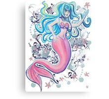 Pink Tailfin Mermaid Metal Print